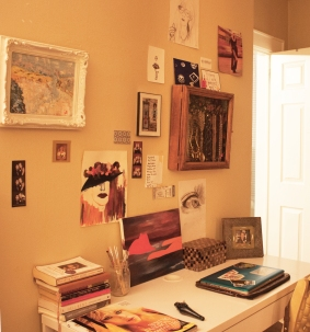 Everything on the wall was drawn or painted by me. A lot of things are unfinished.